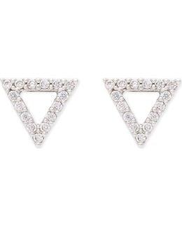 Tuxedo Rhodium Triangle Earrings