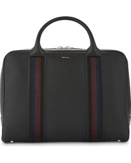 City Webbing Grained Leather Briefcase