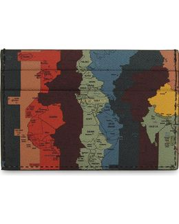 Map Print Leather Card Holder