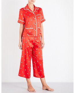 Daria Cindy Printed Silk-satin Pajama Set