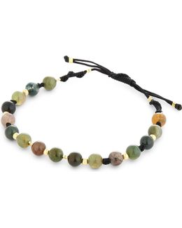 Mens Traditional Moss Agate Braided Bracelet