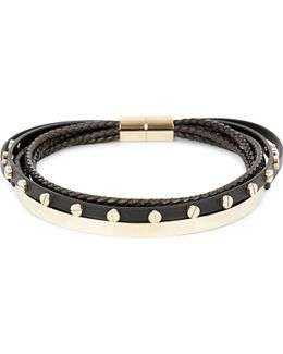 Multi-row Leather And Brass Choker