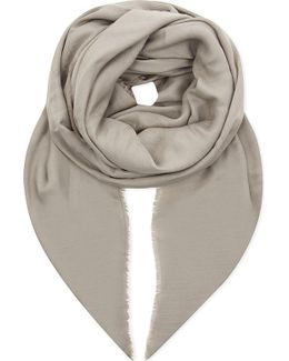 Ladies Black Classic Logo Wool And Silk-blend Scarf
