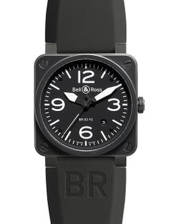 Br0392-bl-ce Heritage Aviation Ceramic And Leather Watch