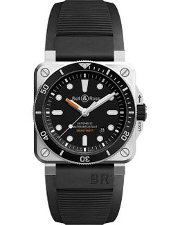 Tissot Br0392 Diver Satin-polished Steel And Rubber Watch