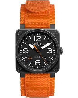Br0392oca Aviation Automatic Steel And Canvas Strap Watch