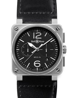 Br0394-bl-si/sca Aviation Steel And Leather Watch