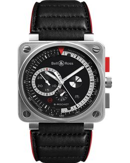 Br0397-bl-si/sca Aviation Steel And Leather Watch