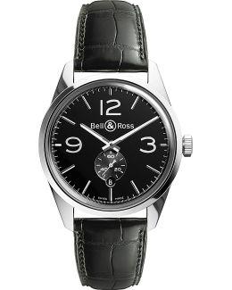 Br123black Vintage Original Satin Steel And Leather Watch