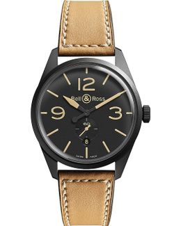 Br123carbon Vintage Original Satin Steel And Leather Watch