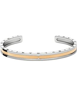 Bzero1 Steel and 18ct Pink-gold Bracelet Cuff