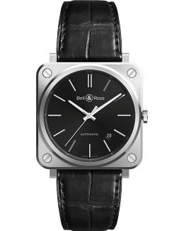 Brs92-blc-st/scr Steel And Leather Watch