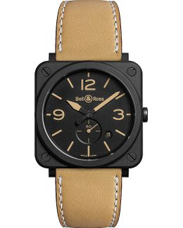 Brs Heritage Aviation Ceramic And Leather Watch