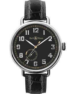 Brww197herstscr Vintage Ww1 Stainless Steel And Leather Watch