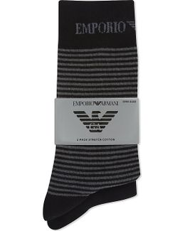 Plain And Striped Socks 2-pack