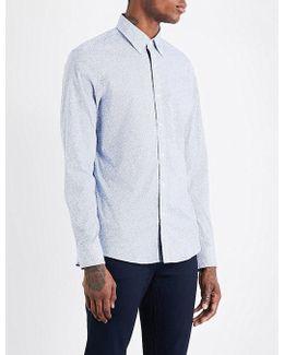 Shadow Dot-print Slim-fit Cotton Shirt