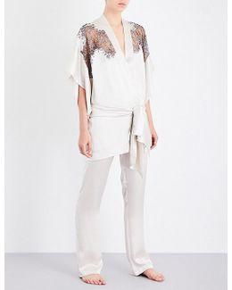 Chantilly Lace-trim Silk-satin Kimono Robe