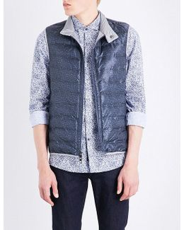 Textured-print Quilted Gilet