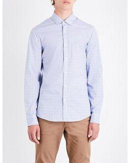 Geometric-print Slim-fit Stretch-cotton Shirt