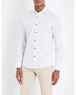 Ditsy-print Slim-fit Stretch-cotton Shirt