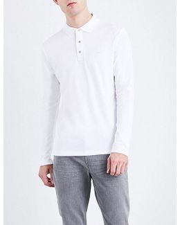 Logo-embroidered Long-sleeved Cotton-jersey Polo Shirt