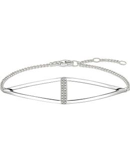 Triangle Sterling Silver And Diamond Bracelet