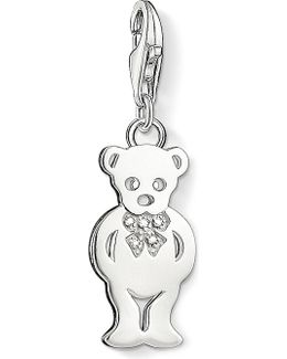 Charm Club Silver And Diamond Teddy Bear Charm