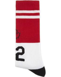 Maple Leaf Ribbed Socks