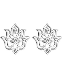 Lotus Sterling Silver And White Diamond Stud Earrings