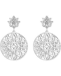 Mandala Sterling Silver And Diamond Drop Earrings