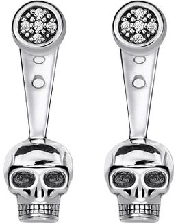 Rebel At Heart Skull Sterling Silver Diamond Ear Jackets