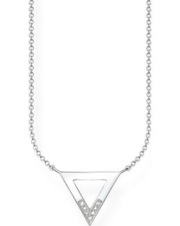 Triangle Sterling Silver And Diamond Necklace