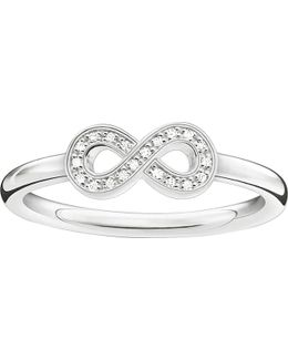 Glam & Soul Sterling Silver And Zirconia-pavé Infinity Ring