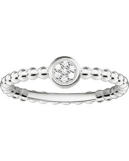 Glam And Soul Sparkling Circles Sterling Silver Diamond Ring
