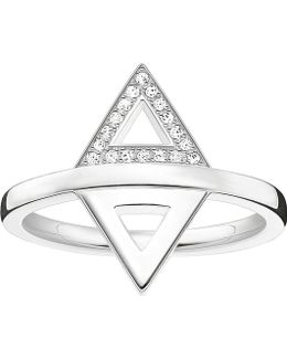 Triangle Sterling Silver And Diamond Ring