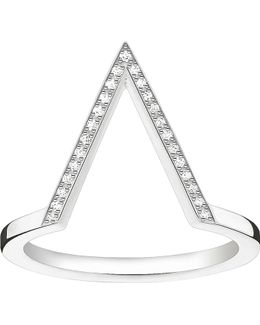 Triangle Sterling Silver Diamond Ring