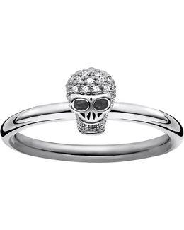 Diamond Pav Skull Ring Band