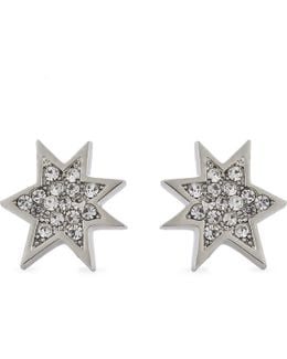 Ladies White Pow Stud Earrings