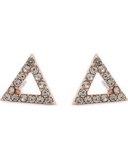 Ladies Black Triangle Stud Earrings