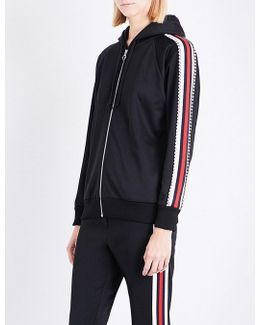 Diamante-embellished Piped Jersey Hoody