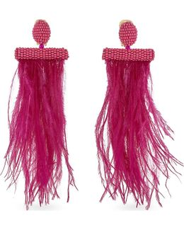 Feather And Bead Tassel Earrings