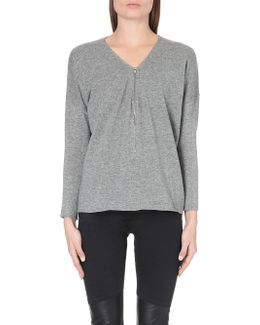 Wool And Cashmere Sweater With Zip Neck