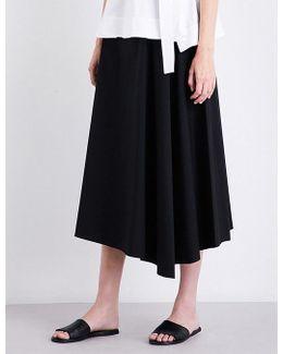 Ladies Black Luxurious Jaberdina Stretch-cotton Midi Skirt