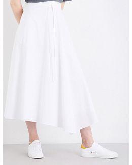 Ladies Luxurious Jaberdina Stretch-cotton Midi Skirt