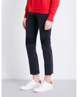 Patchwork-detail Slim-fit High-rise Jeans