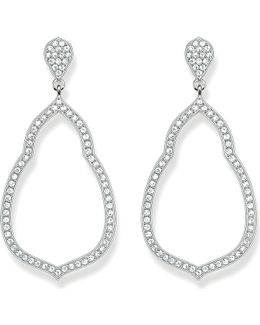 Fatima's Garden Sterling Silver And White Pavé Zirconia Drop Earrings