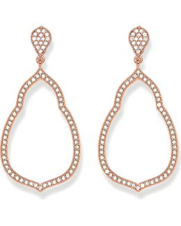 Fatima's Garden 18k-rose Gold Plated Sterling Silver And White Pavé Zirconia Drop Earrings