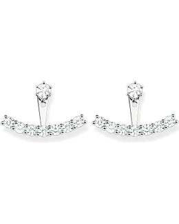 Sterling Silver And White Zirconia Ear Jackets