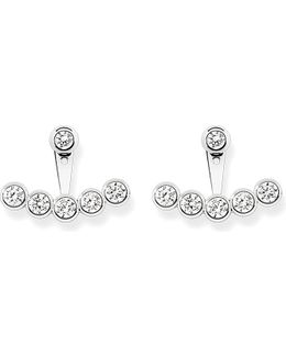 Sterling Silver And White Pavé Zirconia Ear Jackets