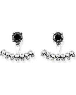 Sterling Silver Skull And Black Onyx Ear Jackets
